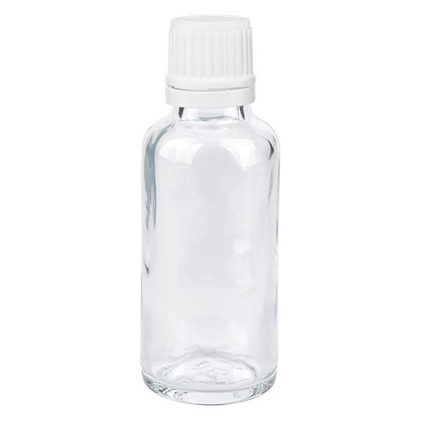 Helder glazen flessen 30ml met wit schroefsluiting VR