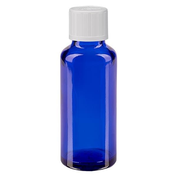 Blauwe glazen flessen 30ml met wit druppelsluiting kinderslot St