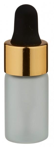 Mini pipetfles 3ml mat, schroefdraad M13 met druppelpipet PL28 goud/zwart
