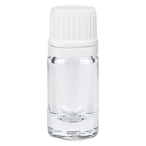 Helder glazen flessen 5ml met wit schroefsluiting VR