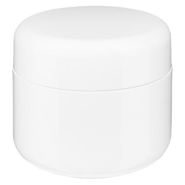 Crèmepot 'Softline' wit 5ml met schroefdop en afdekplaatje