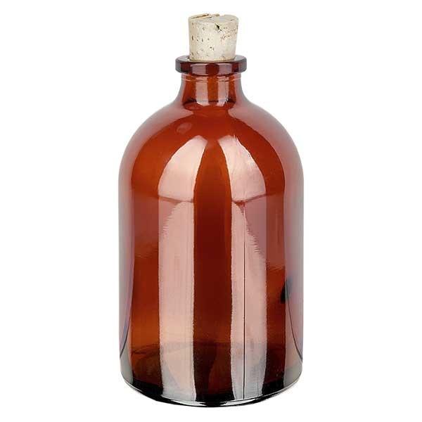 Injectiefles bruin glas 100ml met kurk 11/14mm