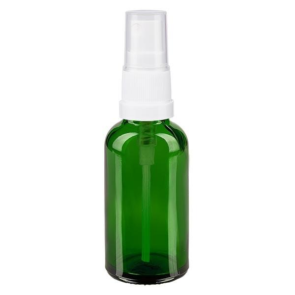 Groenen glazen flessen 30ml met wit pompverstuiver