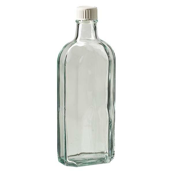 250 ml witte meplatfles met DIN 22 monding, inclusief schroefsluiting DIN 22 wit met PE-schuiminzetstuk