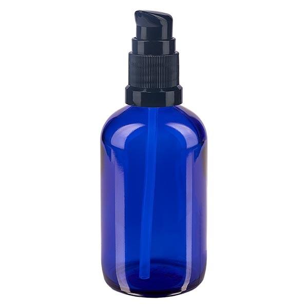 Blauwe glazen flessen 100ml met zwart pompsluiting