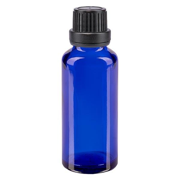 Blauwe glazen flessen 30ml met zwart schroefsluiting dicht. VR Premium