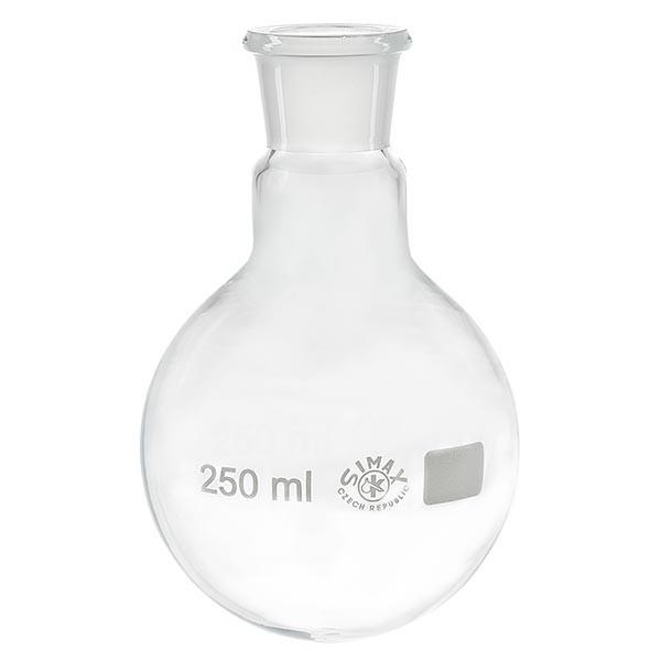Platbodem kolf 250ml wijde hals borosilicaat met slijpstuk 29/32