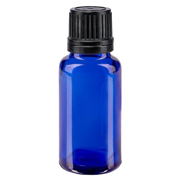 Blauwe glazen flessen 20ml met wit druppelsluiting 1mm VR