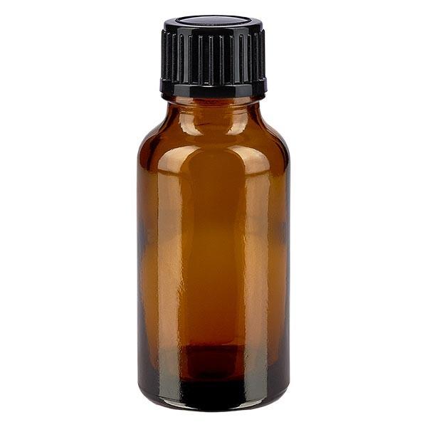 Bruine glazen fles 20ml met zwart druppelsluiting 1mm St