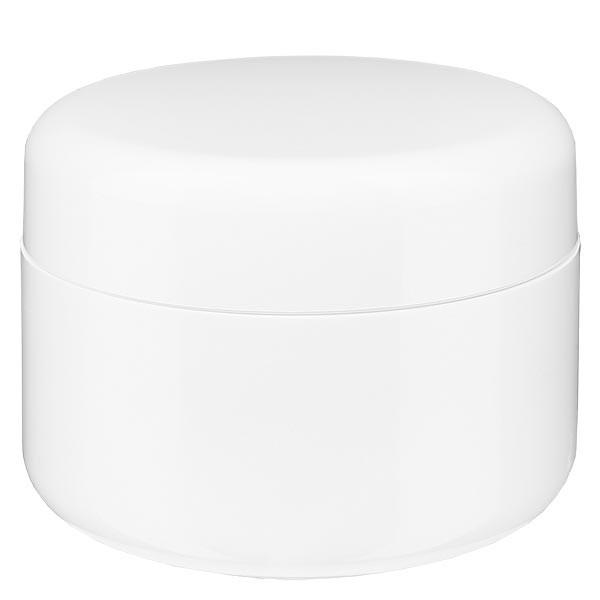 Crèmepot 'Softline' wit 100ml met schroefdop en afdekplaatje