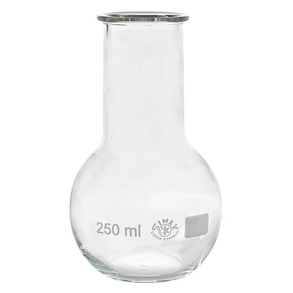 Platbodem kolf 250ml wijde hals borosilicaat met afgeronde rand