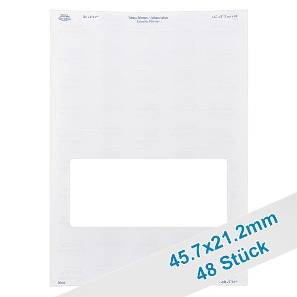 48 etiketten, wit, verwijderbaar 46x21mm, oplosbaar