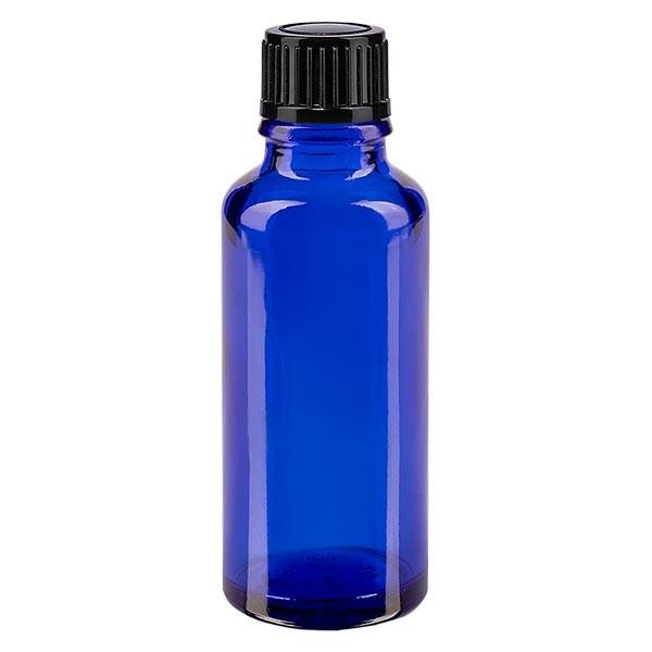 Blauwe glazen flessen 30ml met zwart schroefsluiting St