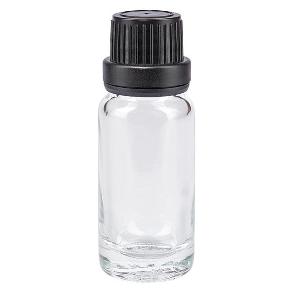 Helder glazen flessen 10ml met zwart schroefsluiting dicht. VR