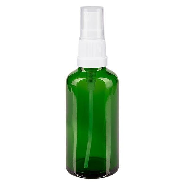 Groenen glazen flessen 50ml met wit pompverstuiver
