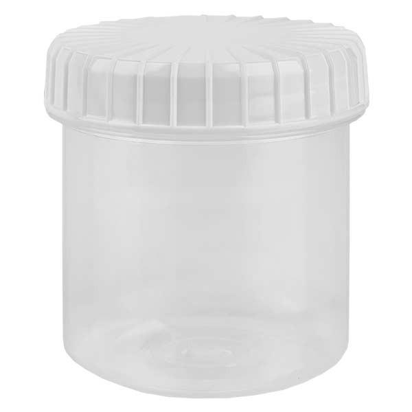 Kunststof pot 75ml transparant met geribbeld wit schroefdeksel van PE, type sluiting standaard