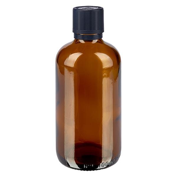 Bruine glazen fles 100ml met zwart druppelsluiting 1mm kinderslot bliw. VR