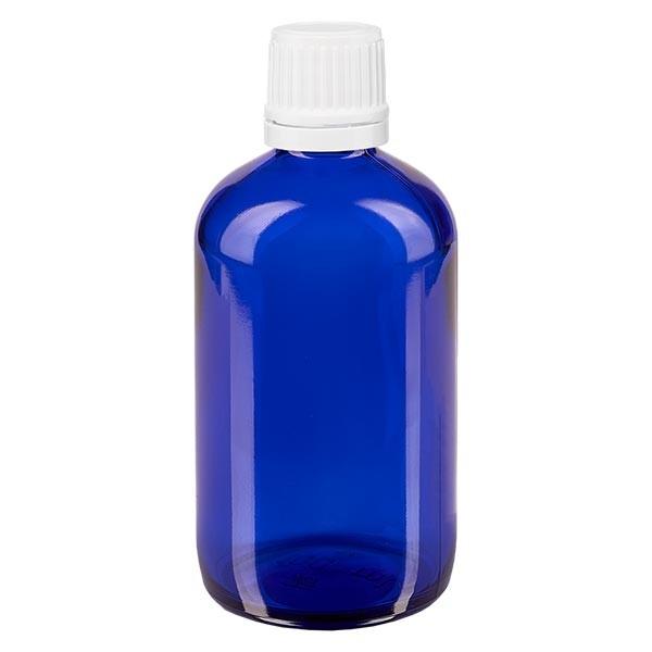 Blauwe glazen flessen 100ml met wit druppelsluiting 1.2mm VR
