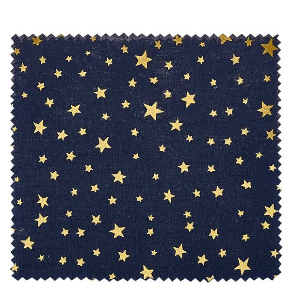 1 x stoffen lapje 150x150mm donkerblauw met gouden sterren voor deksel diameter 43-100mm