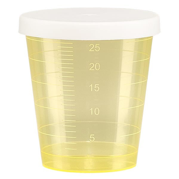 Medicijnbeker 30ml incl. klikdeksel (geneesmiddelenbeker/jeneverbeker) kleur: geel