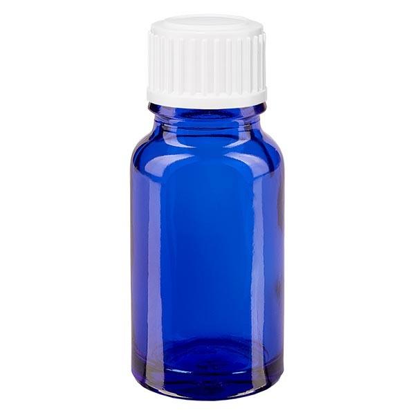 Blauwe glazen flessen 10ml, wit schroefsluiting met globuli uitgietring