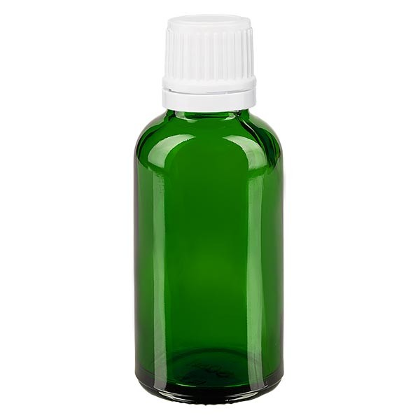 Groenen glazen flessen 30ml met wit druppelsluiting 1.2mm VR