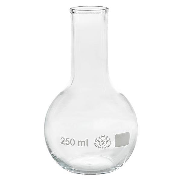 Platbodem kolf 250ml nauwe hals borosilicaat met afgeronde rand
