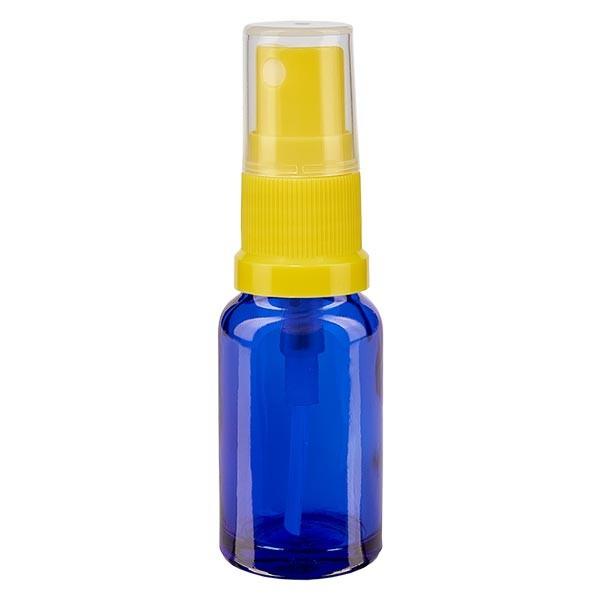 Blauwe glazen flessen 10ml met geel pompverstuiver