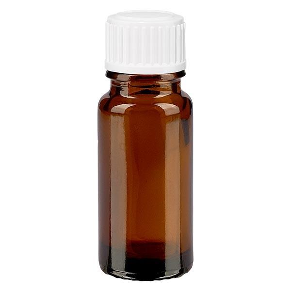 Bruine glazen fles 10ml met wit schroefsluiting globuli uitgietring St