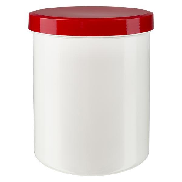 Zalfpot 1000g wit met rood schroefdeksel (PP)