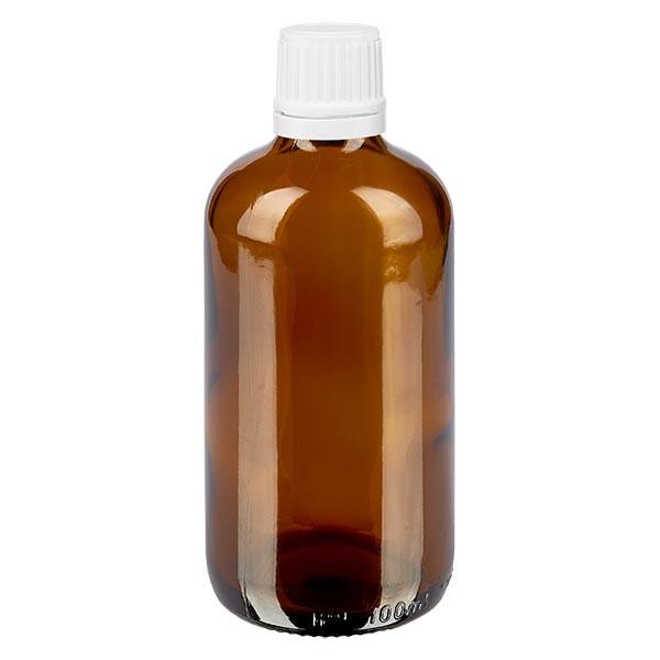 Bruine glazen fles 100ml met wit druppelsluiting 1.2mm VR