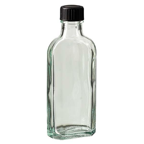 100 ml witte meplatfles met DIN 22 monding, inclusief schroefsluiting DIN 22 zwart van LKD