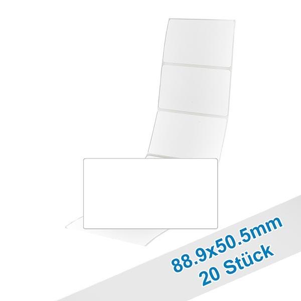 20 etiketten, wit, verwijderbaar 88.9x50.5mm