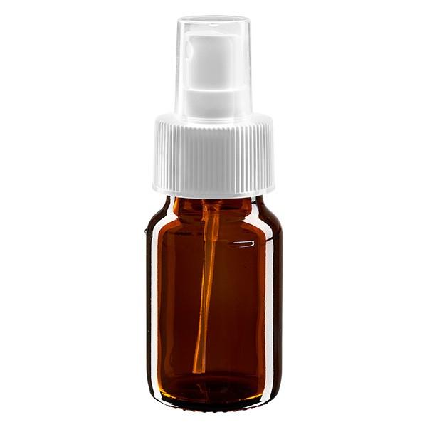 30ml Euro-medicijnfles bruin met verstuiver wit incl. dop transparant