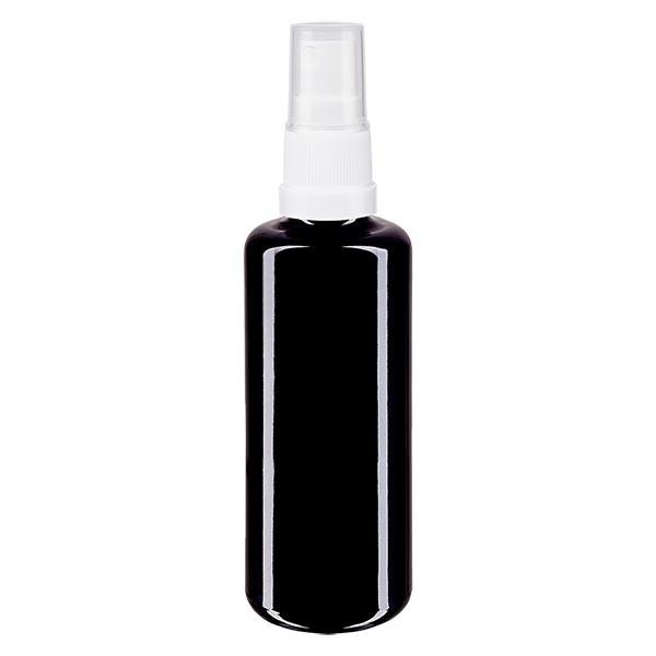 Fles violet glas 50 ml met pompverstuiver wit