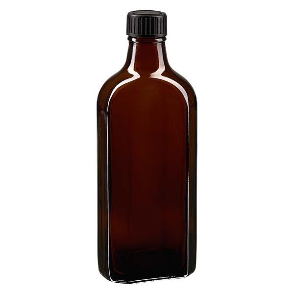 200 ml bruine meplatfles met DIN 22 monding, inclusief schroefsluiting DIN 22 zwart van LKD