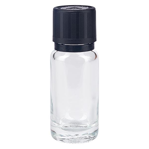 Helder glazen flessen 10ml met zwart druppelsluiting 1mm kinderslot Bliwa VR
