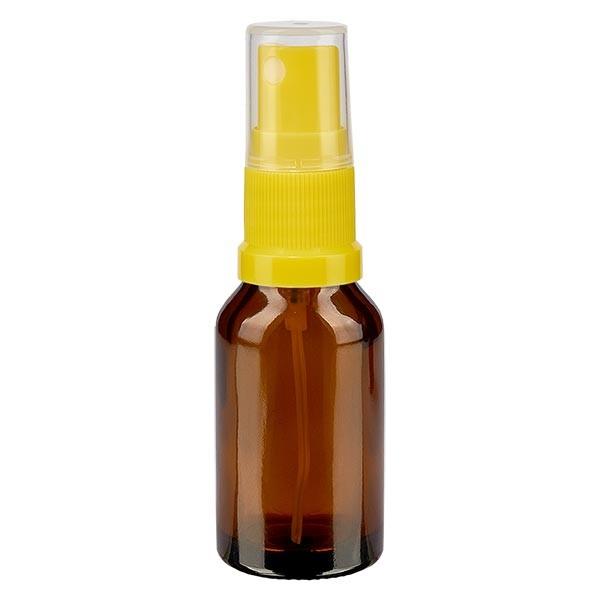 Bruin glazen flessen 30ml met geel pompverstuiver