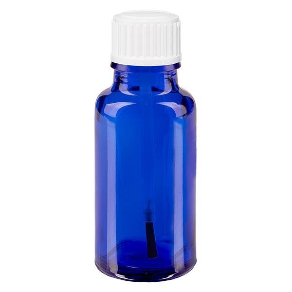 Blauwe glazen flessen 20ml met wit schroefsluiting kwastje 18mm VR