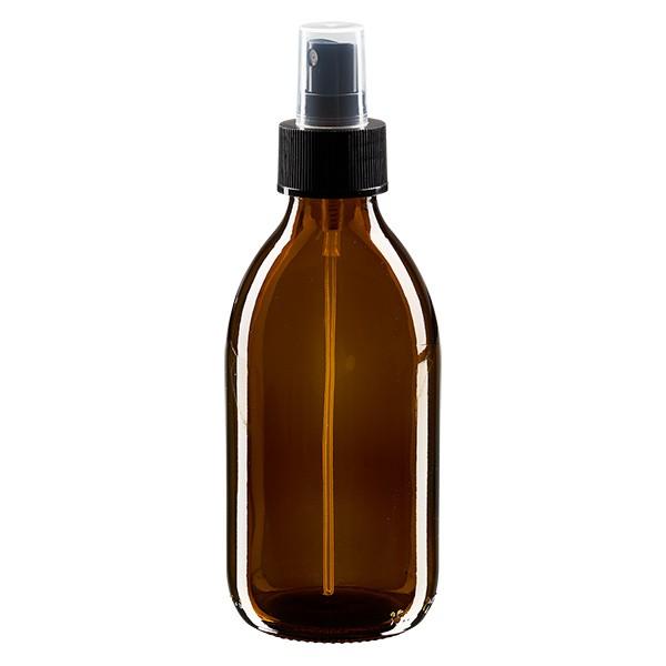 250ml Euro-medicijnfles bruin met verstuiver zwart incl. dop transparant