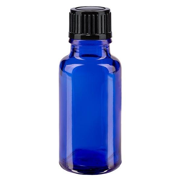 Blauwe glazen flessen 20ml met zwart schroefsluiting St