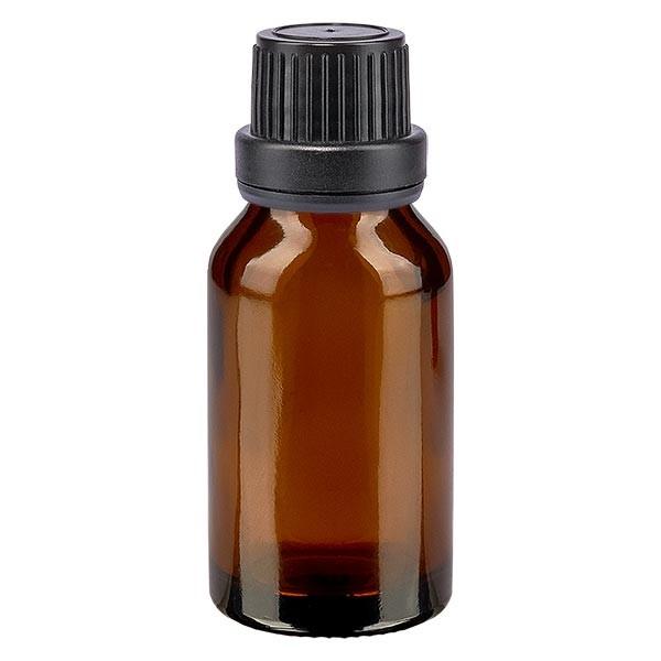 Bruine glazen fles 15ml met zwart schroefsluiting dicht. VR