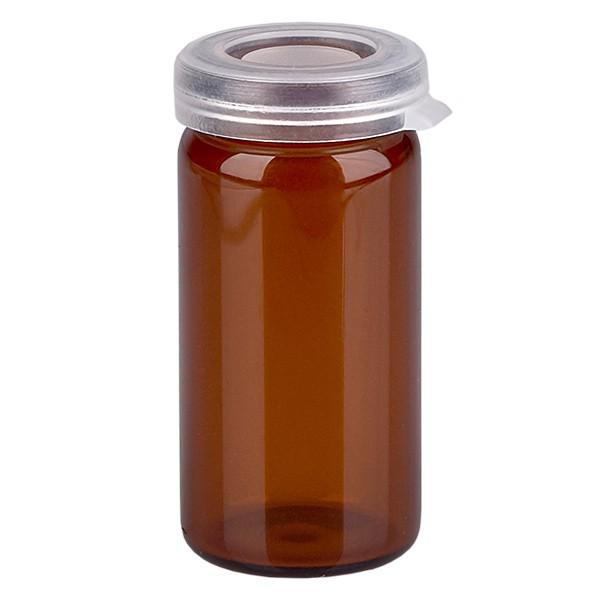 5ml tablettenglas bruin incl. klikdeksel (rolrand glas)