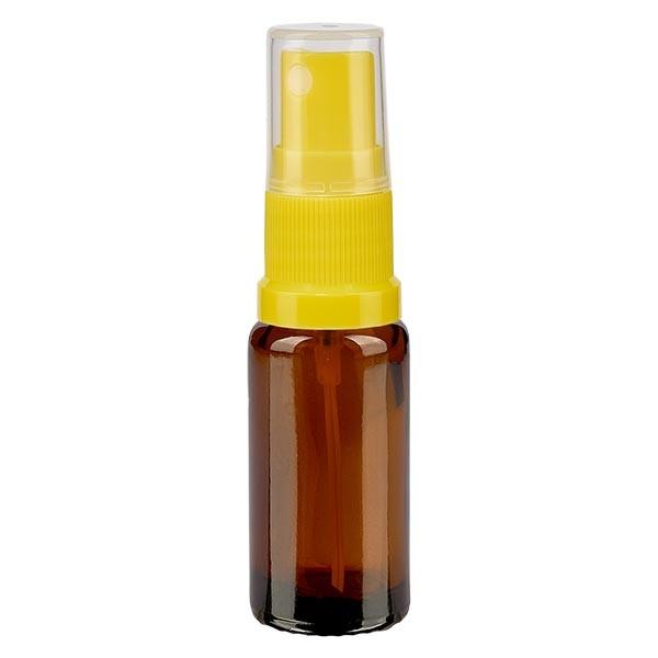Bruin glazen flessen 10ml met geel pompverstuiver