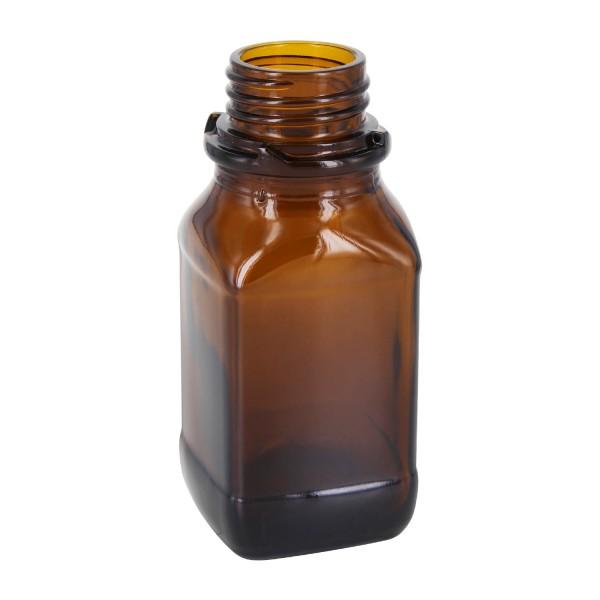 100 ml vierkante fles met wijde hals bruin glas met DIN 32 krans