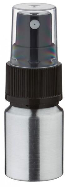 10 ml aluminium fles geslepen incl. pompverstuiver zwart