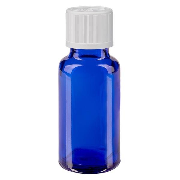 Blauwe glazen flessen 20ml met wit schroefsluiting kinderslot St