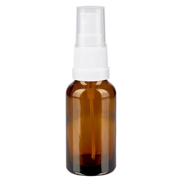 Bruin glazen flessen 20ml met wit pompverstuiver