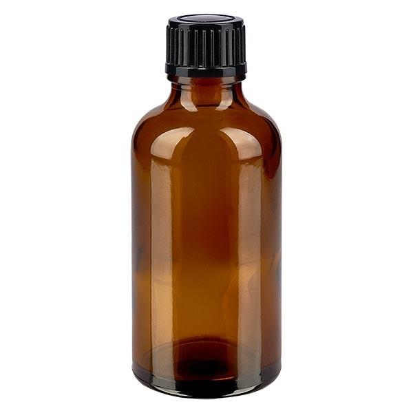 Bruine glazen fles 50ml met zwart schroefsluiting St