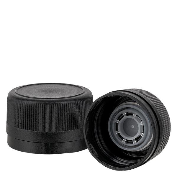 Schroefsluiting 31.5 mm zwart geribbeld met uitgietring en VR